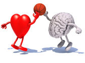 Heart and brain with arms and legs playing to a basket ball — Stock Photo