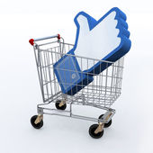 Shopping cart with big 3d hand — Stock Photo
