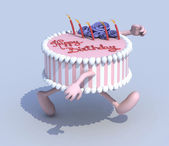 Cartoon cake with arms and legs runner — Stock Photo