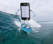 Smartphone with arms and legs surfing on the sea — Stock Photo