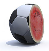 A soccer ball cut inside a watermelon — 图库照片