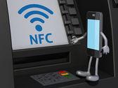 Smartphone que utiliza un cajero automático — Foto de Stock
