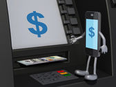 Smartphone that is using an ATM — Stock Photo