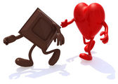Block chocolate chased by heart — Stock Photo