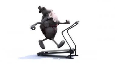Human heart organ on a runnin machine — Stock Video