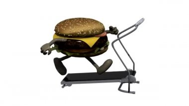 Burger with arms and legs on running machine, 3d animation loop — Stock Video