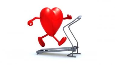 Heart on a running machine, 3d animation — Stock Video