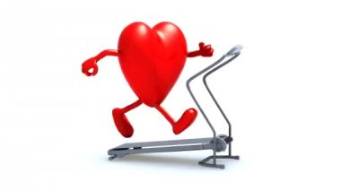 Herz auf einer laufenden Maschine, 3d animation — Stockvideo