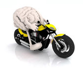 Human brain with arms and legs on the motorbike — Stock Photo