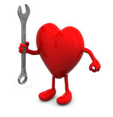Red heart with arms and legs and wrench on hand — Stock Photo