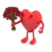 Heart with arms, legs and bunch of roses — Stock Photo
