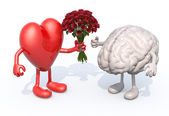 Heart hands her a bouquet of roses to a brain — Stock Photo