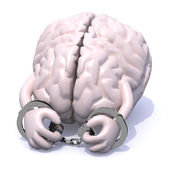 Brain with arms, legs and handcuffs — Stock Photo