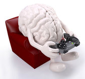 Brain on armchair with arms, legs and game controller — Stock Photo