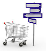 Shopping cart and signage arrow — Stock Photo