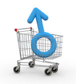 Shopping cart with male symbol inside — Stock Photo