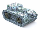Tank made of dollars — Stock Photo