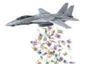 Warplane launching euro banknotes instead of bombs — Stock Photo