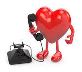 Herz mit armen, beinen und alten telefon auf seite — Stockfoto