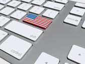 Amerikan bayrağı düğme üstünde belgili tanımlık klavye — Stok fotoğraf