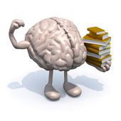 Human brain with arms, legs and many books on hand — Stock Photo
