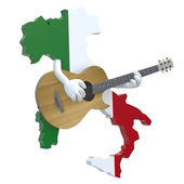 Map of Italy with arms that play guitar — Stock Photo