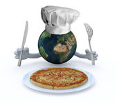 The world with hands, fork and knife in front of a pizza dish — Stock Photo