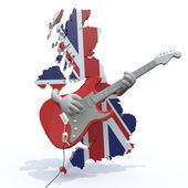 England map with arms that play electric guitar — Stock Photo
