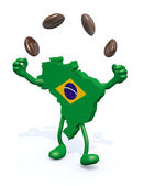 Brasilian map with arms, legs does the juggler with coffee beans — Stock Photo
