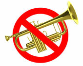 Traffic sign prohibited beeps with real trumpet — Stock Photo