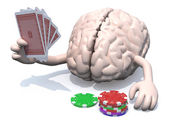 Human brain with arms and legs been playing poker — Stock Photo