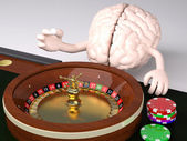 Human brain behind roulette table in a casino  — Stock Photo