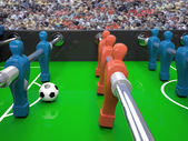 Table football toy and soccer ball — Stock Photo