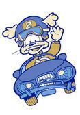漫画犬車の運転 — ストックベクタ