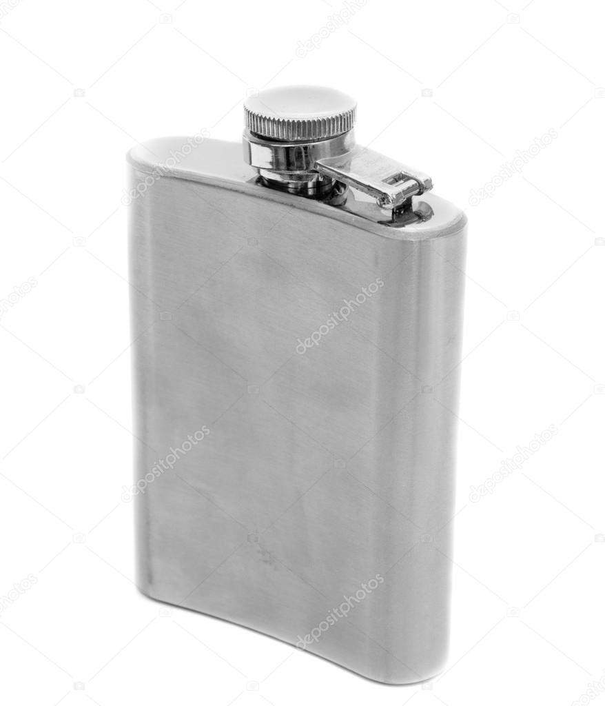 Hip flask isolated on white background.  Stock Photo #16783595