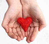 Heart on the hands — Stock Photo
