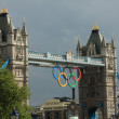 Olympic Rings suspended from Tower Bridge at night — Stock Photo #18583989