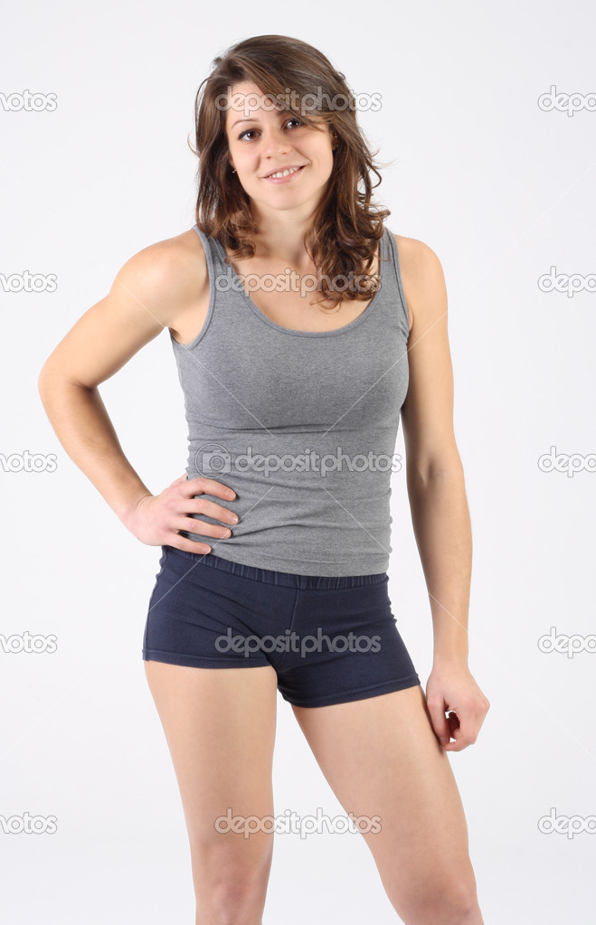 Portrait of a healthy fitness woman  with shorts and singlet — Stock Photo #15848275