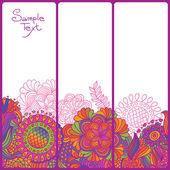 Vintage triple flower doodle background — Stock Vector