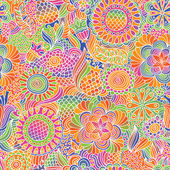 Vintage seamless flower doodle pattern — Stock Vector