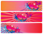 Valentines Day set of three banners — Stock Vector