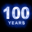 100 years text with blue glow - Stock Photo