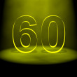 Illuminated number 60 - Foto de Stock  