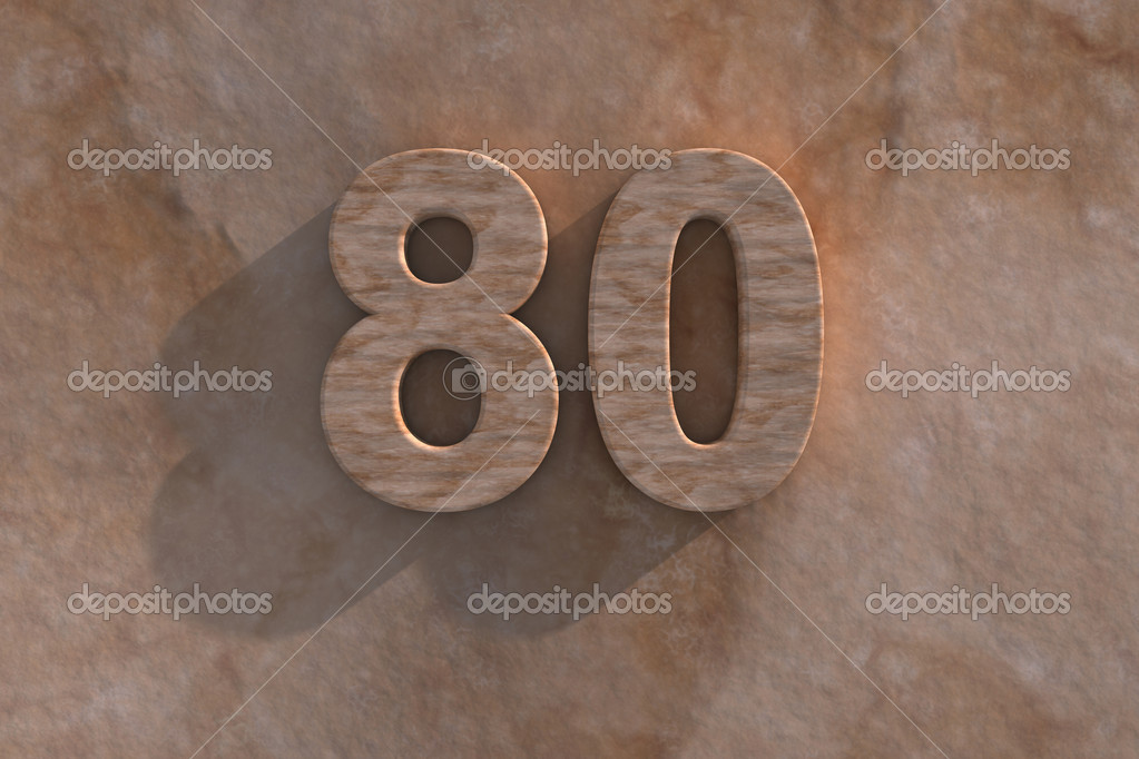 Number 80 embossed or carved from marble placed on a matching marble base  Stock Photo #15836689
