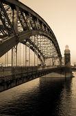 Bolsheokhtinsky Bridge in the black-and-white — Stock Photo