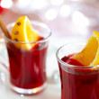 Mulled wine with slice of orange - Stock Photo