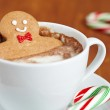 Gingerbread man in hot chocolate — Stock Photo #15728205