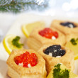 Savoury holiday appetizers — Stock Photo