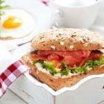 Sandwich with salmon — Stock Photo