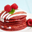 Foto de Stock  : Stack of Red Velvet Pancakes